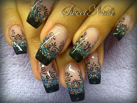 Amazing Nail Style, Black Silver Glitter Queen