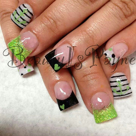 Cute Green and Black Nail Design for Summer 2018, Green Black Glitter Galleries