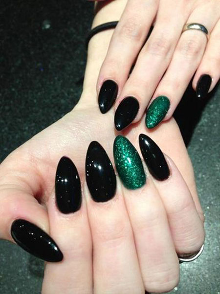 Black Green Manicure Acrylics
