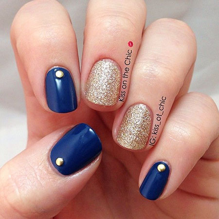Blue Gold Manicure Chic
