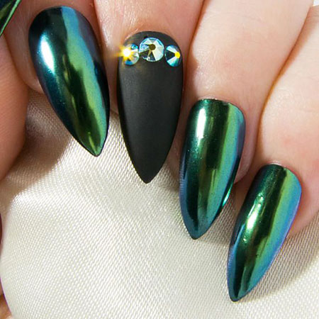 Matte Green Black Stiletto