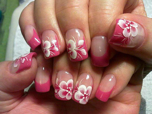Hawaiian Flower Nail Designs