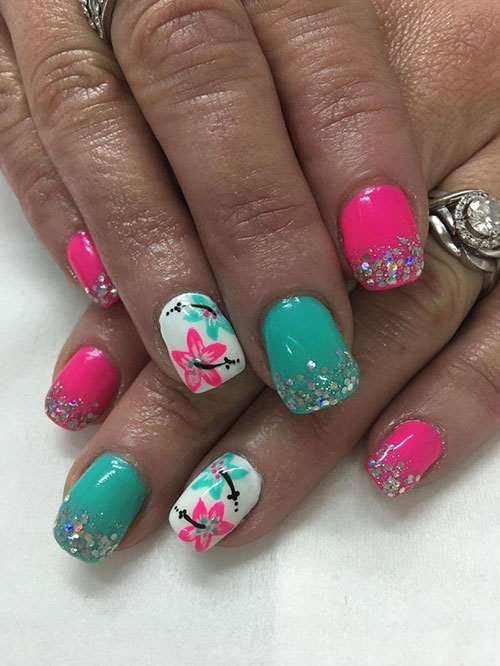 Tropical Flower Nail Designs