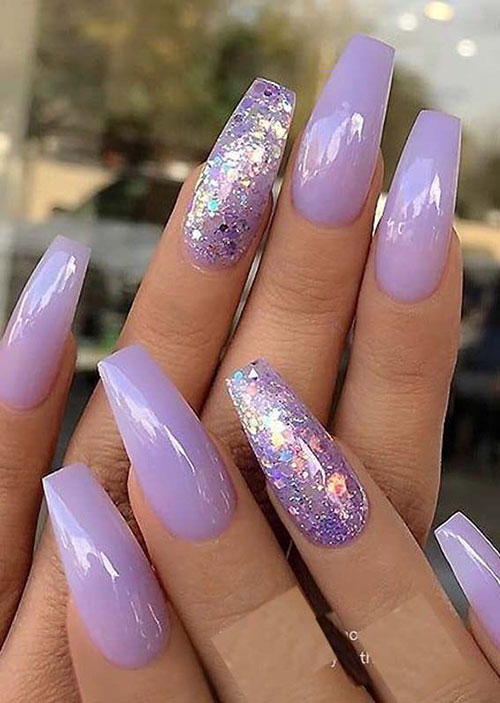 20 Latest Fashion Purple Acrylic Nails Nail Art Designs 2020