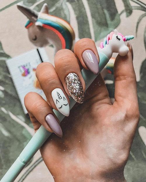 Unicorn Face Nails
