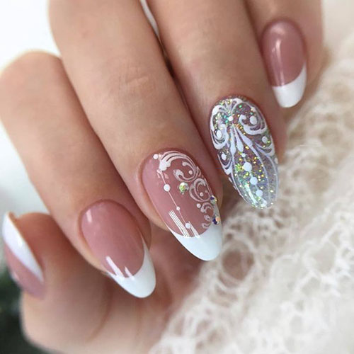 French Tip Nails With Sparkles