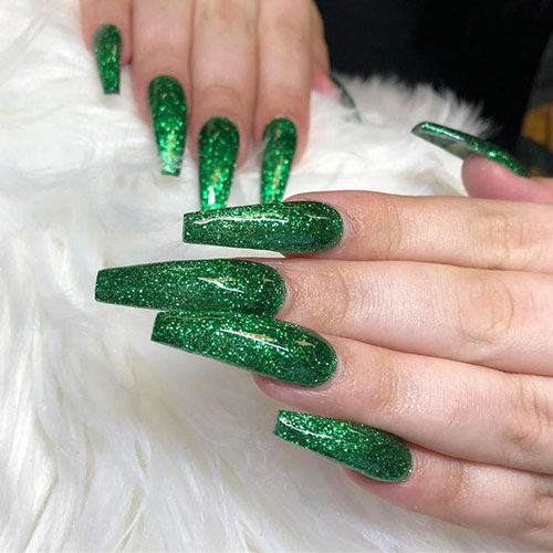 Acrylic Green Nails