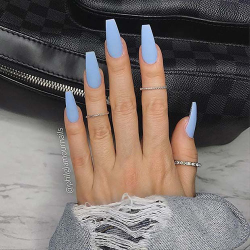 Acrylic Blue Nails